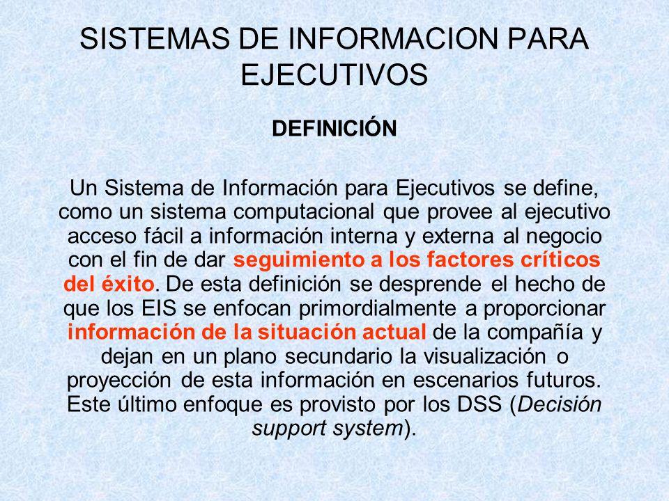 SISTEMAS DE INFORMACION PARA EJECUTIVOS DEFINICIÓN Un Sistema de Información para Ejecutivos se define, como un sistema computacional que provee al ej