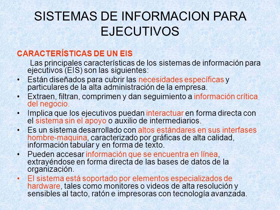 CARACTERÍSTICAS DE UN EIS Las principales características de los sistemas de información para ejecutivos (EIS) son las siguientes: Están diseñados par