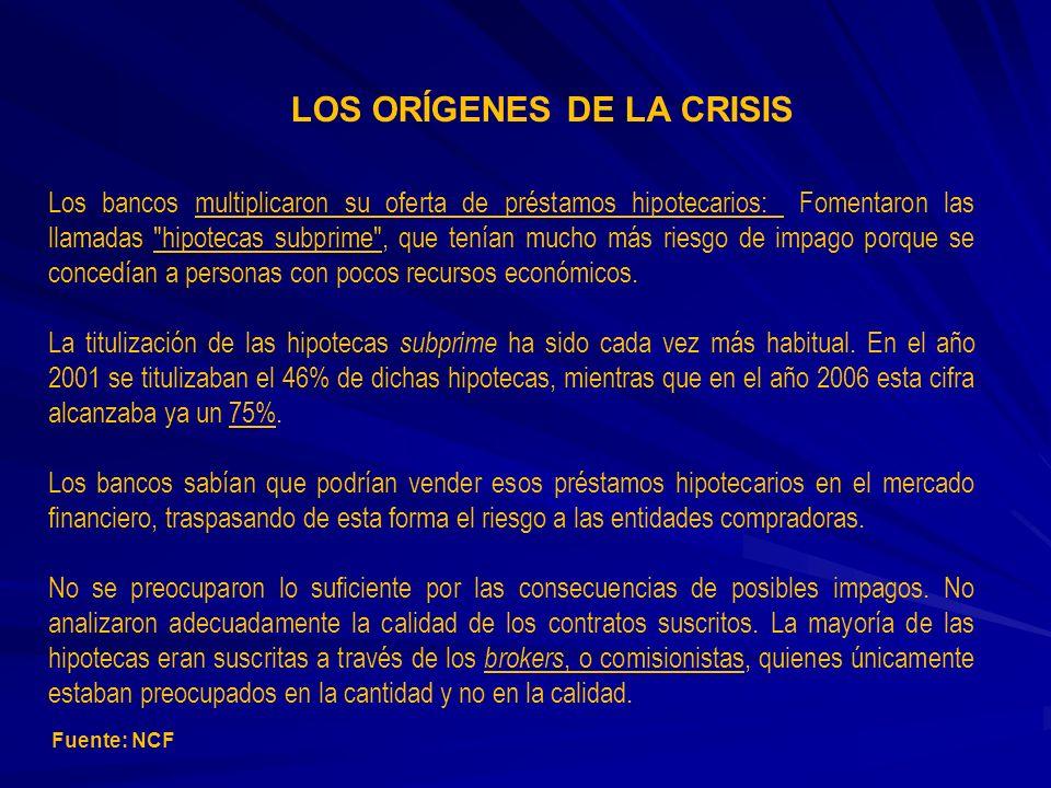 LOS ORÍGENES DE LA CRISIS Los bancos multiplicaron su oferta de préstamos hipotecarios: Fomentaron las llamadas