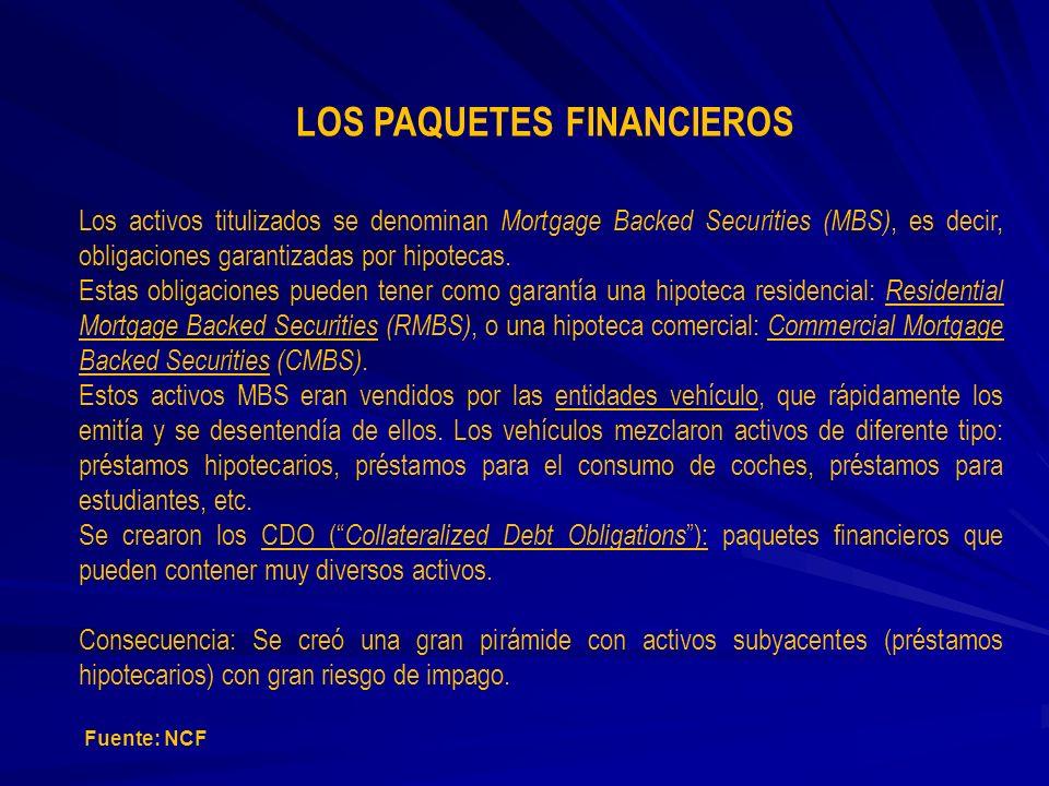 LOS PAQUETES FINANCIEROS Los activos titulizados se denominan Mortgage Backed Securities (MBS), es decir, obligaciones garantizadas por hipotecas. Est