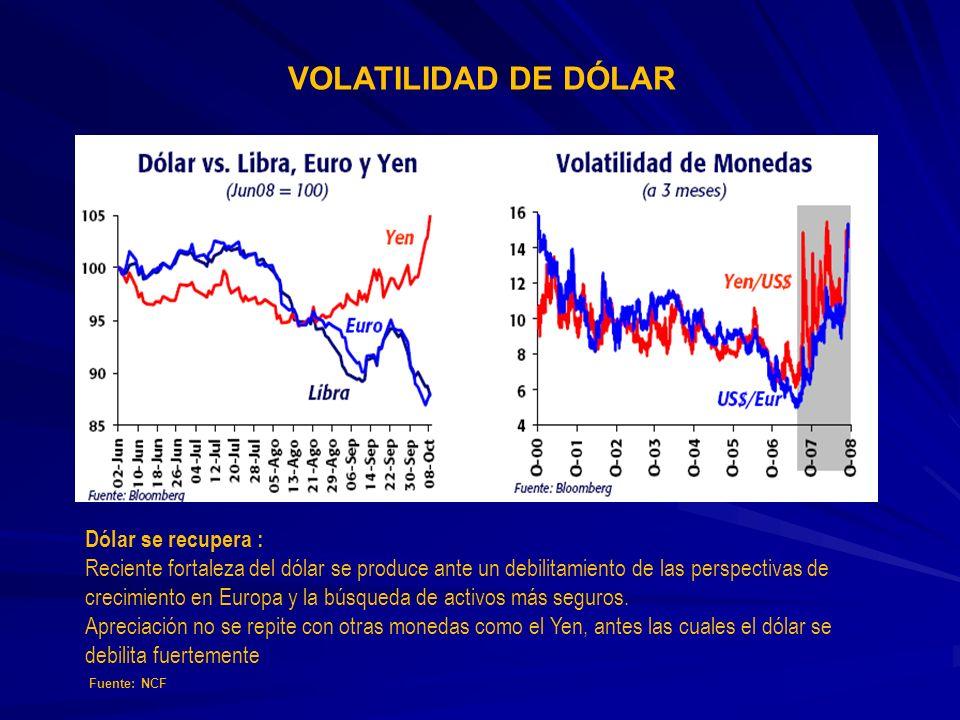Dólar se recupera : Reciente fortaleza del dólar se produce ante un debilitamiento de las perspectivas de crecimiento en Europa y la búsqueda de activ
