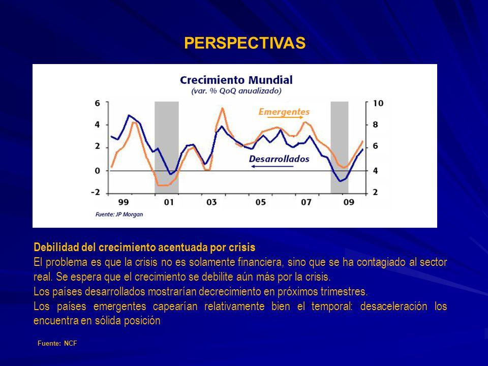 Debilidad del crecimiento acentuada por crisis El problema es que la crisis no es solamente financiera, sino que se ha contagiado al sector real. Se e