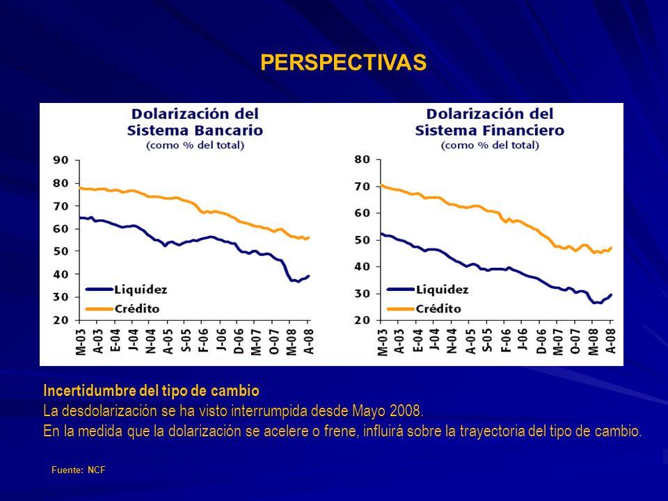 PERSPECTIVAS Incertidumbre del tipo de cambio La desdolarización se ha visto interrumpida desde Mayo 2008. En la medida que la dolarización se acelere