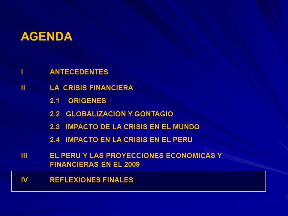 AGENDA IANTECEDENTES IILA CRISIS FINANCIERA 2.1 ORIGENES 2.2 GLOBALIZACION Y GONTAGIO 2.3 IMPACTO DE LA CRISIS EN EL MUNDO 2.4 IMPACTO EN LA CRISIS EN