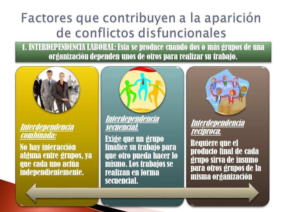 Interdependencia combinada: No hay interacción alguna entre grupos, ya que cada uno actúa independientemente. Interdependencia secuencial: Exige que u