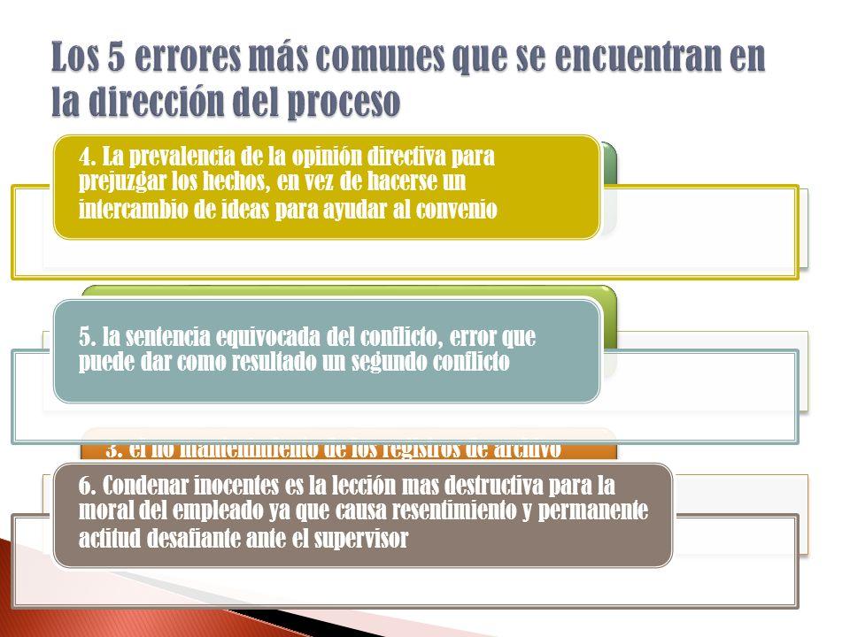 1. La investigación muy superficial y apresurada de los hechos 2. Opiniones y percepciones previas de las directivos 3. el no mantenimiento de los reg