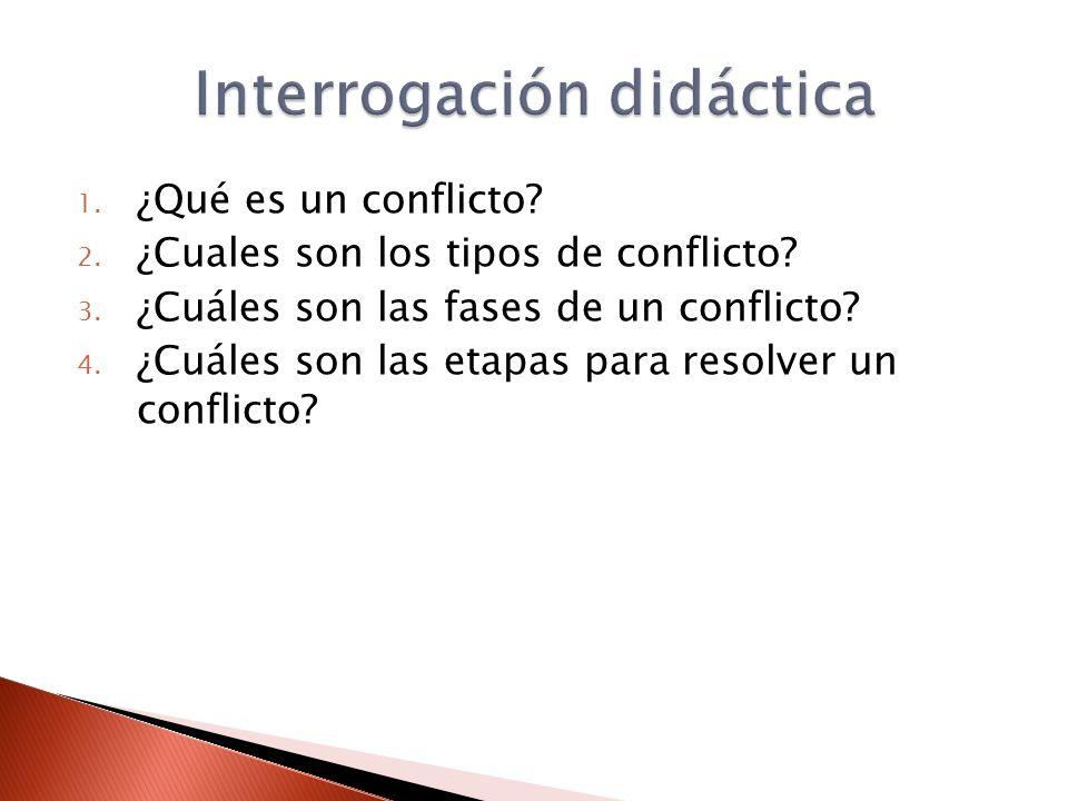 1. ¿Qué es un conflicto? 2. ¿Cuales son los tipos de conflicto? 3. ¿Cuáles son las fases de un conflicto? 4. ¿Cuáles son las etapas para resolver un c