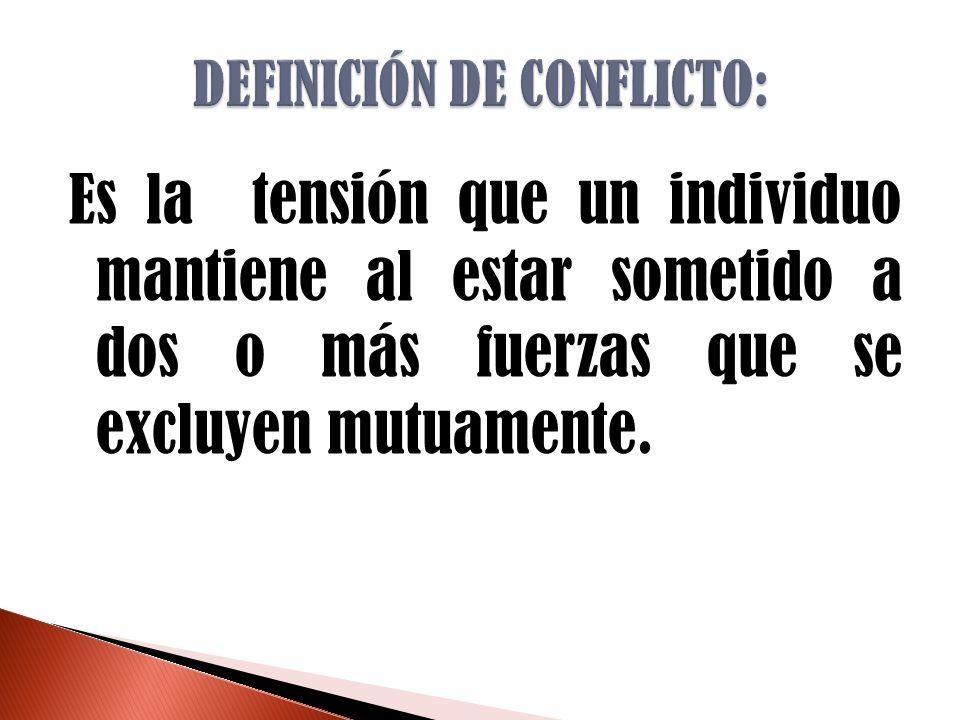 Es la tensión que un individuo mantiene al estar sometido a dos o más fuerzas que se excluyen mutuamente.