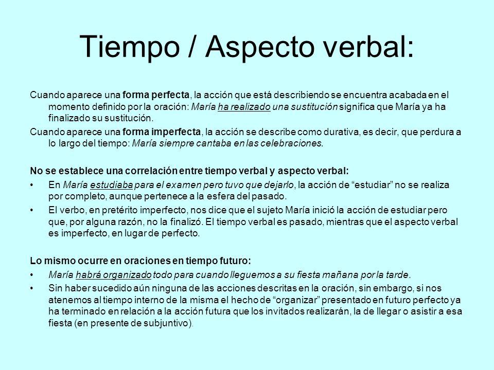 Tiempo / Aspecto verbal: Cuando aparece una forma perfecta, la acción que está describiendo se encuentra acabada en el momento definido por la oración