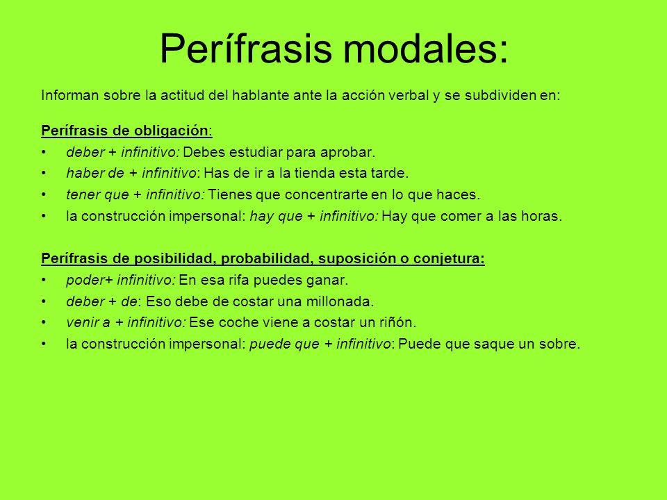 Perífrasis modales: Informan sobre la actitud del hablante ante la acción verbal y se subdividen en: Perífrasis de obligación: deber + infinitivo: Deb