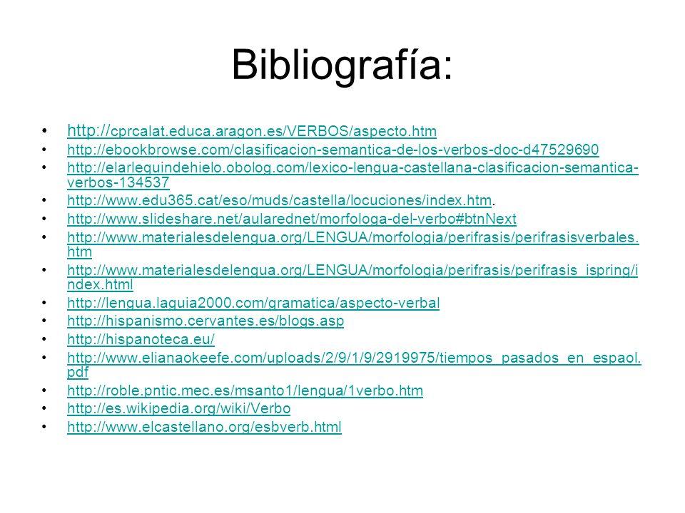 Bibliografía: http:// cprcalat.educa.aragon.es/VERBOS/aspecto.htmhttp:// cprcalat.educa.aragon.es/VERBOS/aspecto.htm http://ebookbrowse.com/clasificac