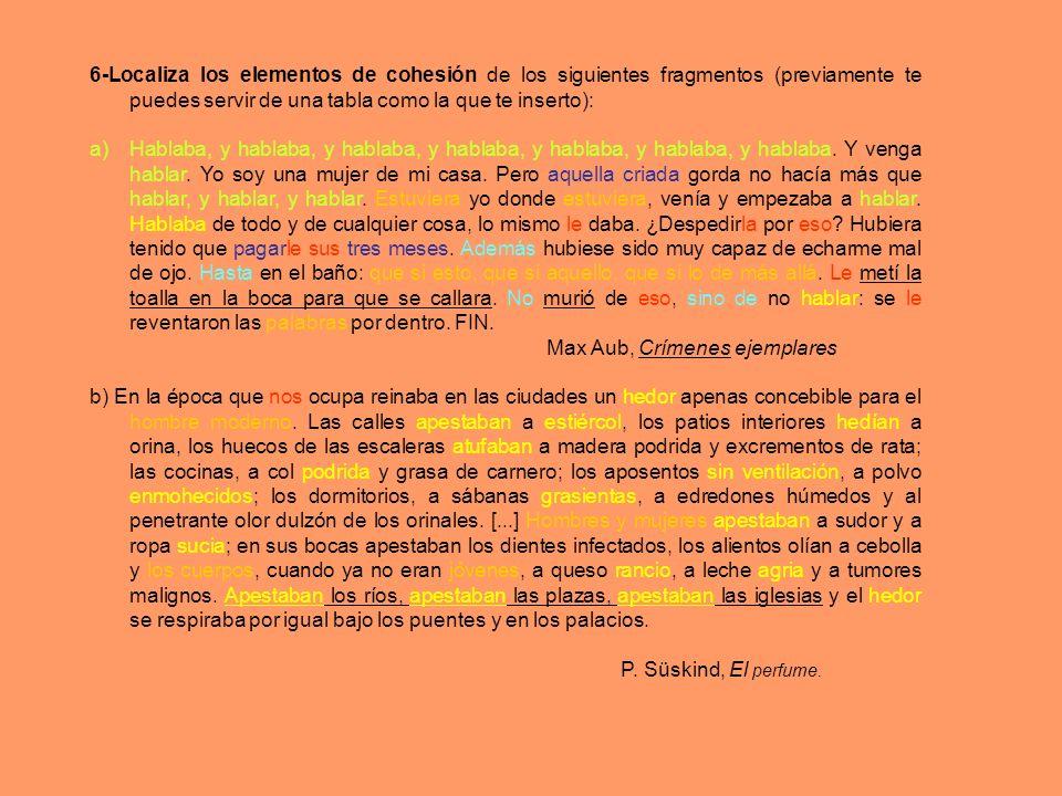 6-Localiza los elementos de cohesión de los siguientes fragmentos (previamente te puedes servir de una tabla como la que te inserto): a)Hablaba, y hab