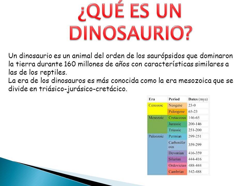 Un dinosaurio es un animal del orden de los saurópsidos que dominaron la tierra durante 160 millones de años con características similares a las de lo