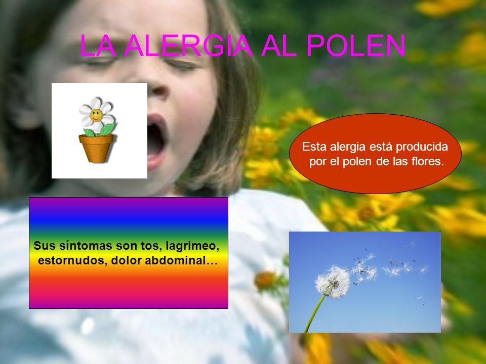 LA ALERGIA AL POLEN Sus síntomas son tos, lagrimeo, estornudos, dolor abdominal… Esta alergia está producida por el polen de las flores.