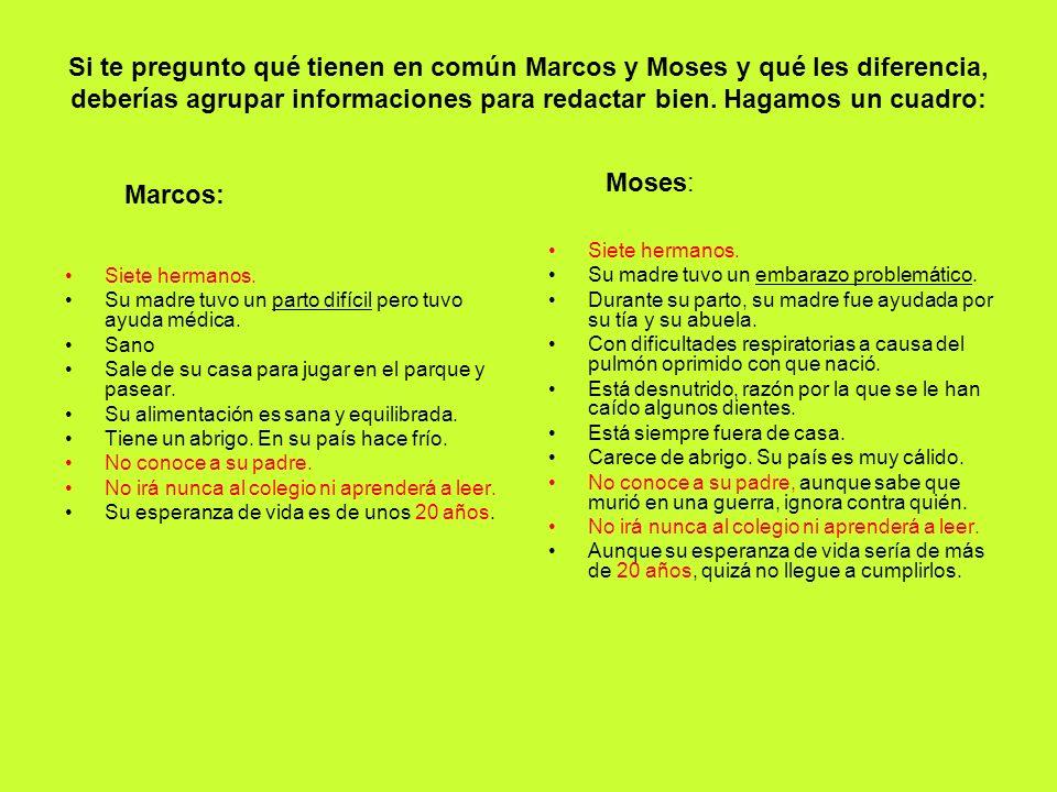 Marcos: Si te pregunto qué tienen en común Marcos y Moses y qué les diferencia, deberías agrupar informaciones para redactar bien. Hagamos un cuadro:
