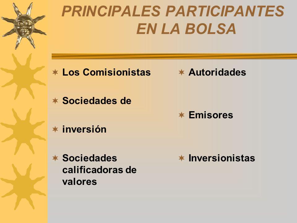 PRINCIPALES PARTICIPANTES EN LA BOLSA Los Comisionistas Sociedades de inversión Sociedades calificadoras de valores Autoridades Emisores Inversionista