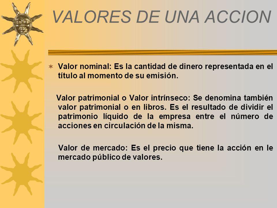 VALORES DE UNA ACCION Valor nominal: Es la cantidad de dinero representada en el título al momento de su emisión. Valor patrimonial o Valor intrínseco