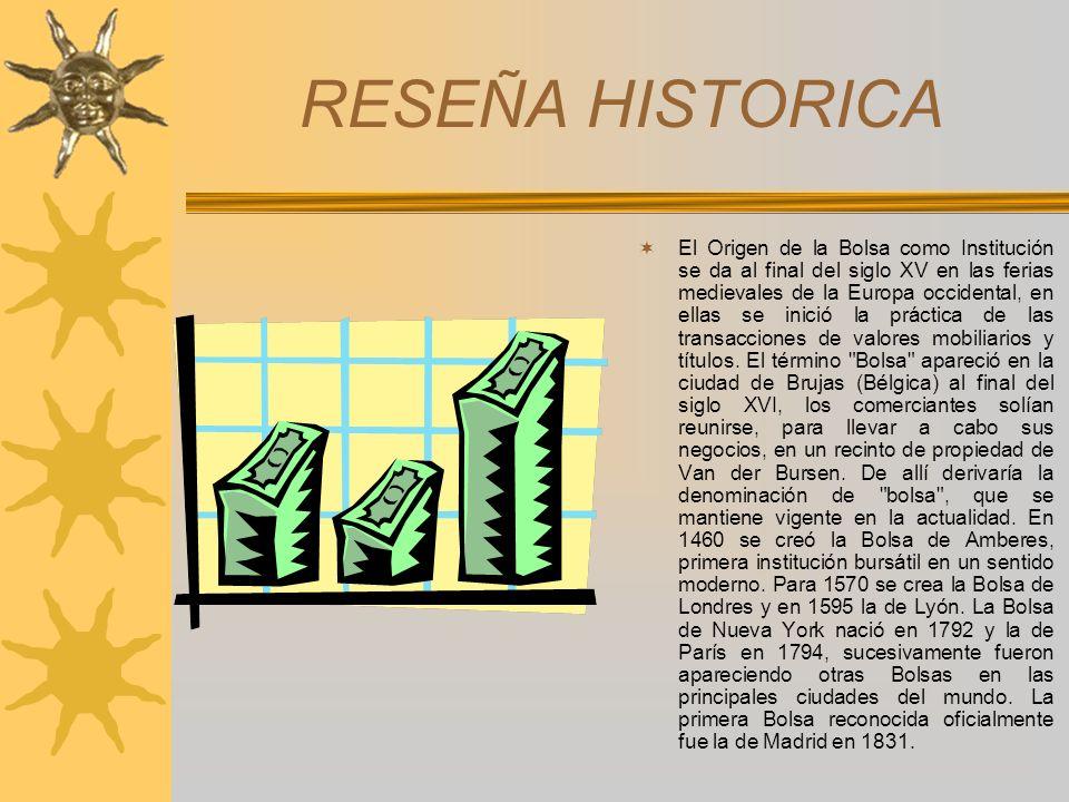 RESEÑA HISTORICA El Origen de la Bolsa como Institución se da al final del siglo XV en las ferias medievales de la Europa occidental, en ellas se inic