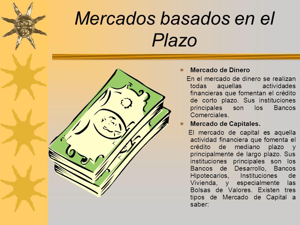 Mercados basados en el Plazo Mercado de Dinero En el mercado de dinero se realizan todas aquellas actividades financieras que fomentan el crédito de c