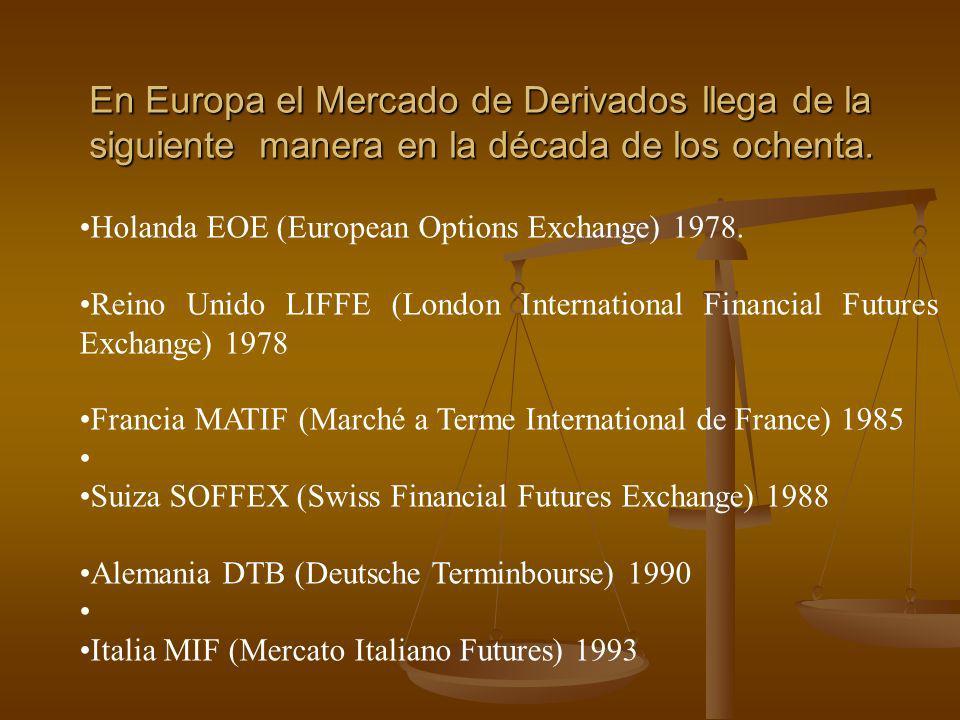 En Europa el Mercado de Derivados llega de la siguiente manera en la década de los ochenta. Holanda EOE (European Options Exchange) 1978. Reino Unido