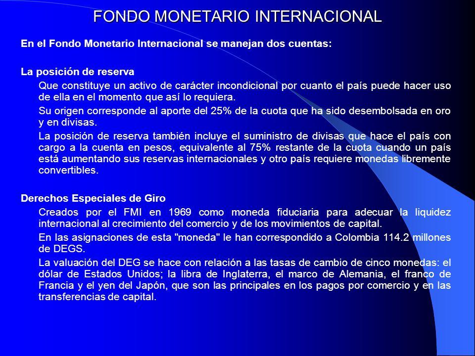 FONDO MONETARIO INTERNACIONAL En el Fondo Monetario Internacional se manejan dos cuentas: La posición de reserva Que constituye un activo de carácter