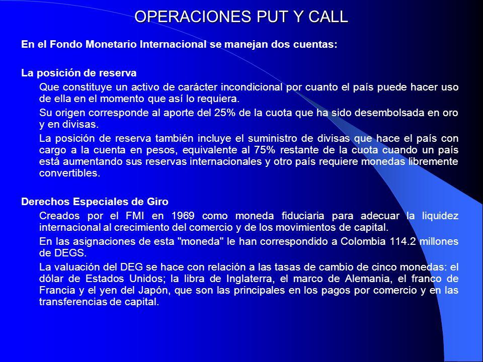 OPERACIONES PUT Y CALL En el Fondo Monetario Internacional se manejan dos cuentas: La posición de reserva Que constituye un activo de carácter incondi