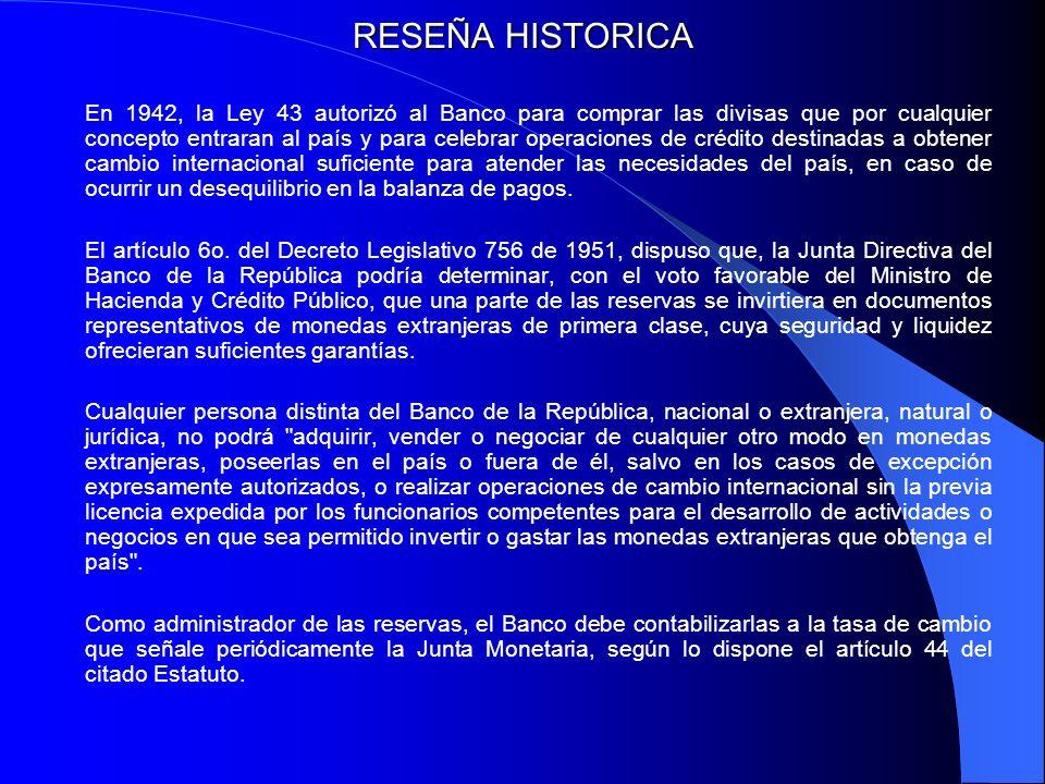 RESEÑA HISTORICA En 1942, la Ley 43 autorizó al Banco para comprar las divisas que por cualquier concepto entraran al país y para celebrar operaciones