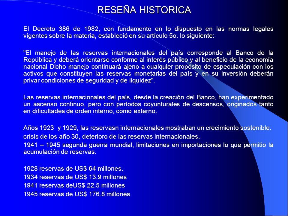 RESEÑA HISTORICA El Decreto 386 de 1982, con fundamento en lo dispuesto en las normas legales vigentes sobre la materia, estableció en su artículo 5o.
