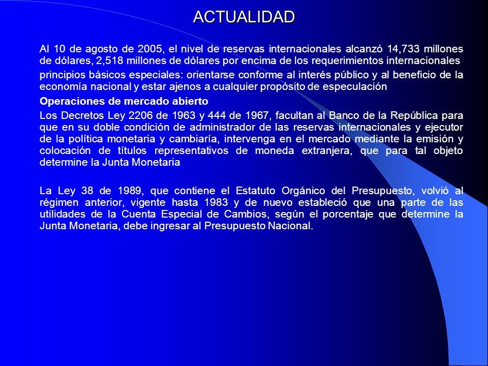 ACTUALIDAD Al 10 de agosto de 2005, el nivel de reservas internacionales alcanzó 14,733 millones de dólares, 2,518 millones de dólares por encima de l