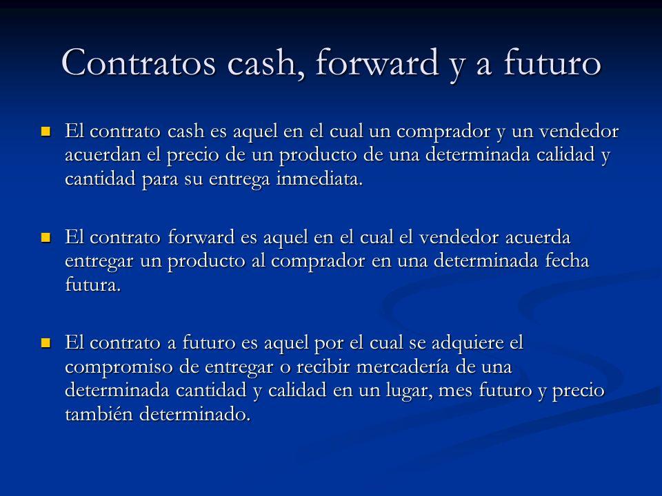 Contratos cash, forward y a futuro El contrato cash es aquel en el cual un comprador y un vendedor acuerdan el precio de un producto de una determinad