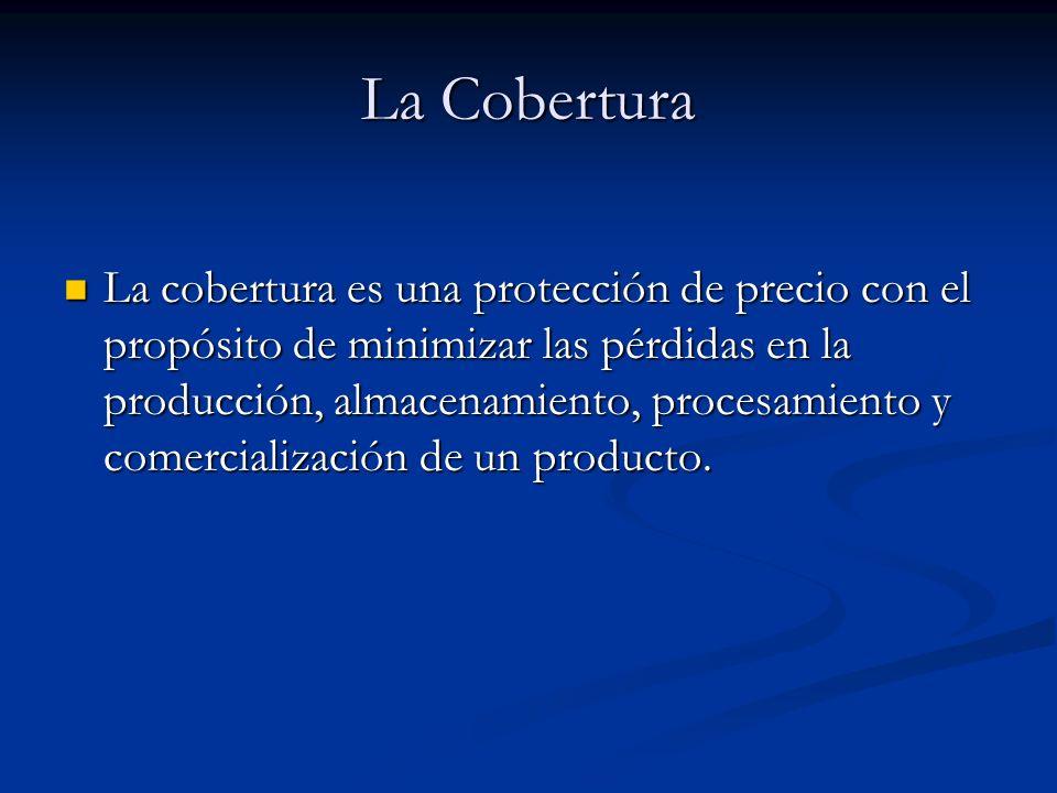 La Cobertura La cobertura es una protección de precio con el propósito de minimizar las pérdidas en la producción, almacenamiento, procesamiento y com