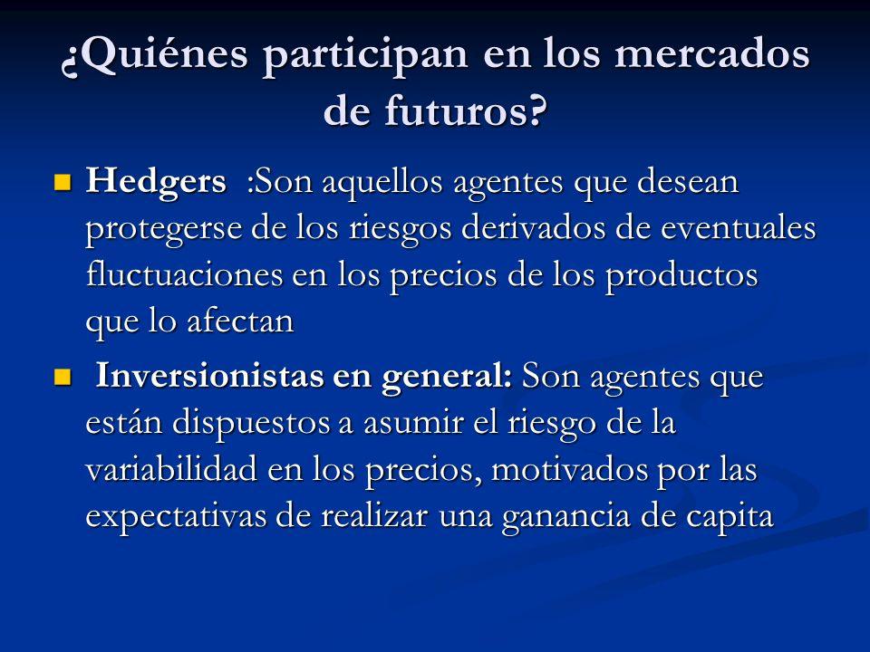 ¿Quiénes participan en los mercados de futuros? Hedgers :Son aquellos agentes que desean protegerse de los riesgos derivados de eventuales fluctuacion