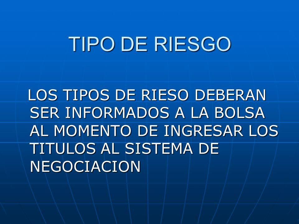 TIPO DE RIESGO LOS TIPOS DE RIESO DEBERAN SER INFORMADOS A LA BOLSA AL MOMENTO DE INGRESAR LOS TITULOS AL SISTEMA DE NEGOCIACION