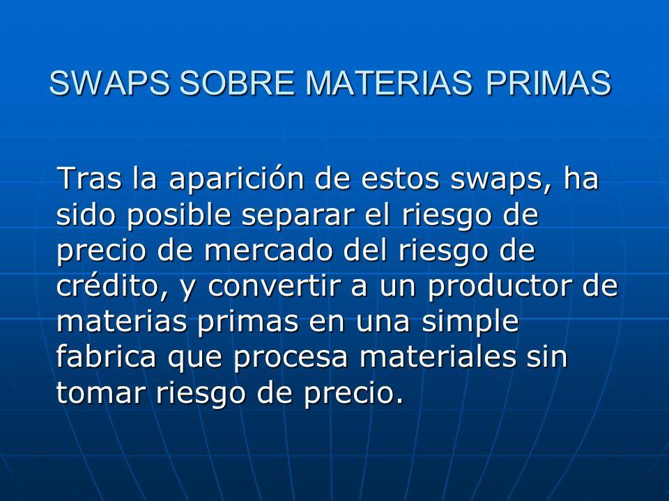 SWAPS SOBRE MATERIAS PRIMAS Tras la aparición de estos swaps, ha sido posible separar el riesgo de precio de mercado del riesgo de crédito, y converti