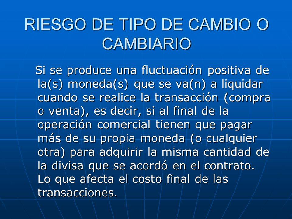 RIESGO DE TIPO DE CAMBIO O CAMBIARIO Si se produce una fluctuación positiva de la(s) moneda(s) que se va(n) a liquidar cuando se realice la transacció