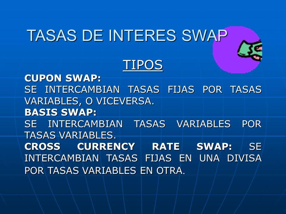 TIPOS CUPON SWAP: SE INTERCAMBIAN TASAS FIJAS POR TASAS VARIABLES, O VICEVERSA. BASIS SWAP: SE INTERCAMBIAN TASAS VARIABLES POR TASAS VARIABLES. CROSS