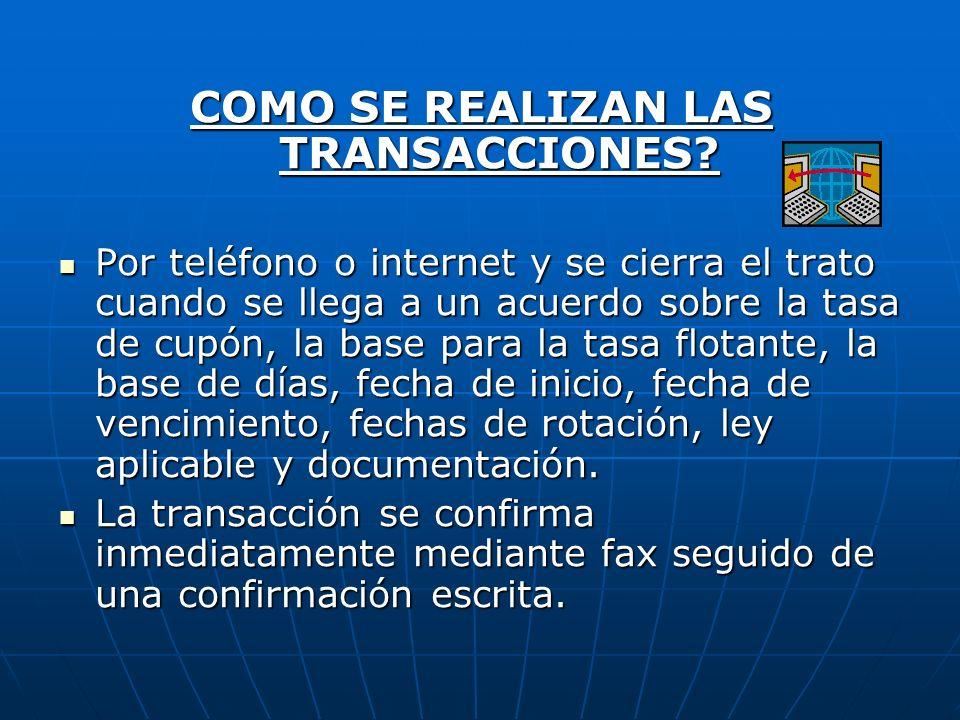 COMO SE REALIZAN LAS TRANSACCIONES? Por teléfono o internet y se cierra el trato cuando se llega a un acuerdo sobre la tasa de cupón, la base para la