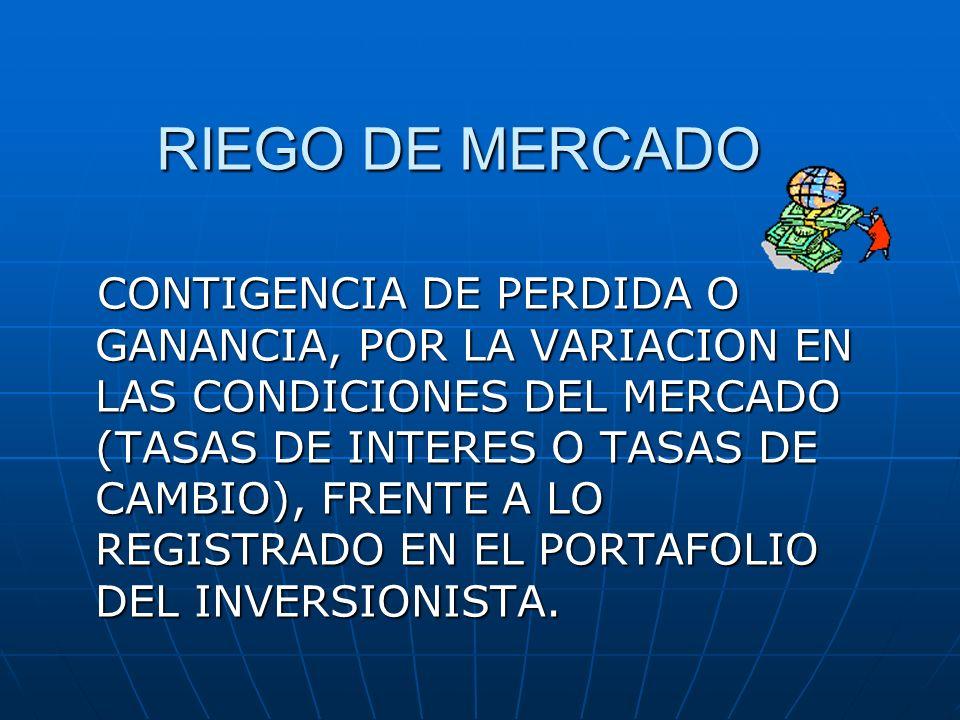 RIEGO DE MERCADO CONTIGENCIA DE PERDIDA O GANANCIA, POR LA VARIACION EN LAS CONDICIONES DEL MERCADO (TASAS DE INTERES O TASAS DE CAMBIO), FRENTE A LO