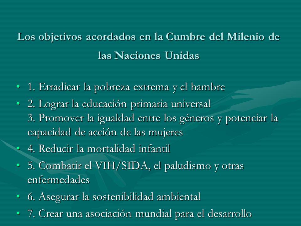 Los objetivos acordados en la Cumbre del Milenio de las Naciones Unidas 1. Erradicar la pobreza extrema y el hambre1. Erradicar la pobreza extrema y e