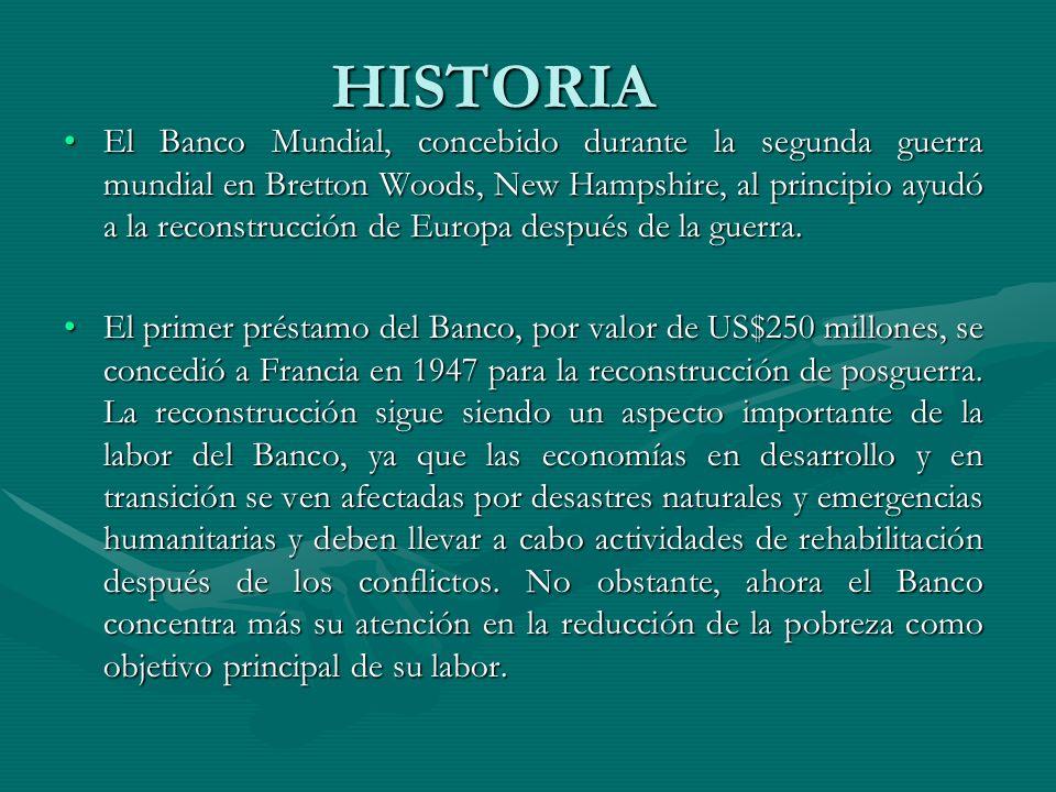 HISTORIA El Banco Mundial, concebido durante la segunda guerra mundial en Bretton Woods, New Hampshire, al principio ayudó a la reconstrucción de Euro