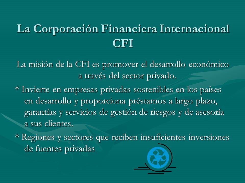 La Corporación Financiera Internacional CFI La misión de la CFI es promover el desarrollo económico a través del sector privado. * Invierte en empresa