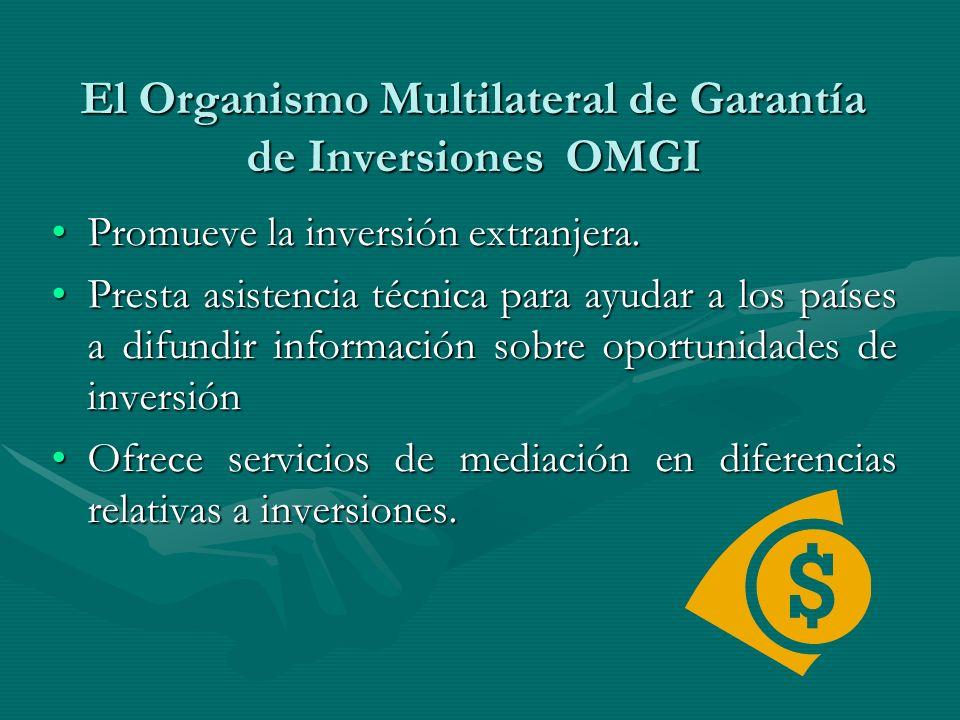 El Organismo Multilateral de Garantía de Inversiones OMGI Promueve la inversión extranjera.Promueve la inversión extranjera. Presta asistencia técnica