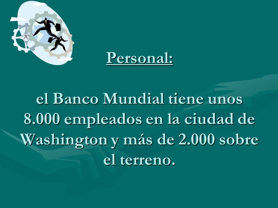 Personal: el Banco Mundial tiene unos 8.000 empleados en la ciudad de Washington y más de 2.000 sobre el terreno.