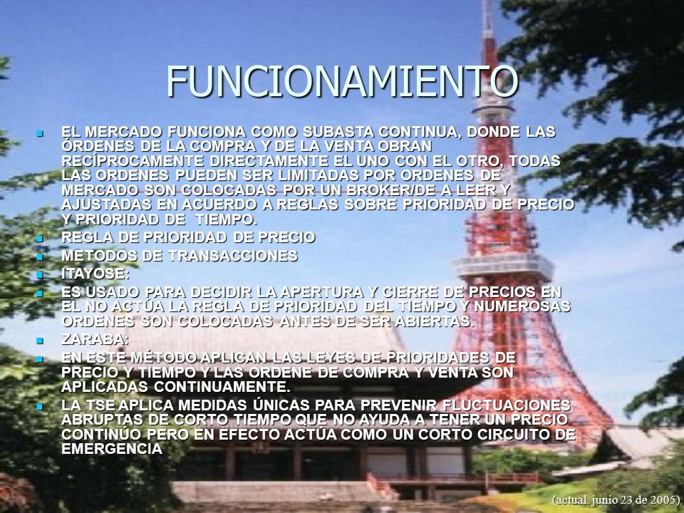 FUNCIONAMIENTO (actual. junio 23 de 2005) EL MERCADO FUNCIONA COMO SUBASTA CONTINUA, DONDE LAS ÓRDENES DE LA COMPRA Y DE LA VENTA OBRAN RECÍPROCAMENTE