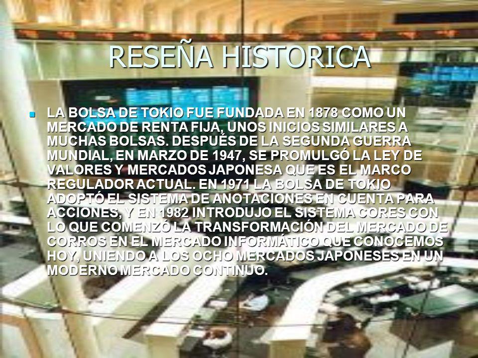 RESEÑA HISTORICA LA BOLSA DE TOKIO FUE FUNDADA EN 1878 COMO UN MERCADO DE RENTA FIJA, UNOS INICIOS SIMILARES A MUCHAS BOLSAS. DESPUÉS DE LA SEGUNDA GU