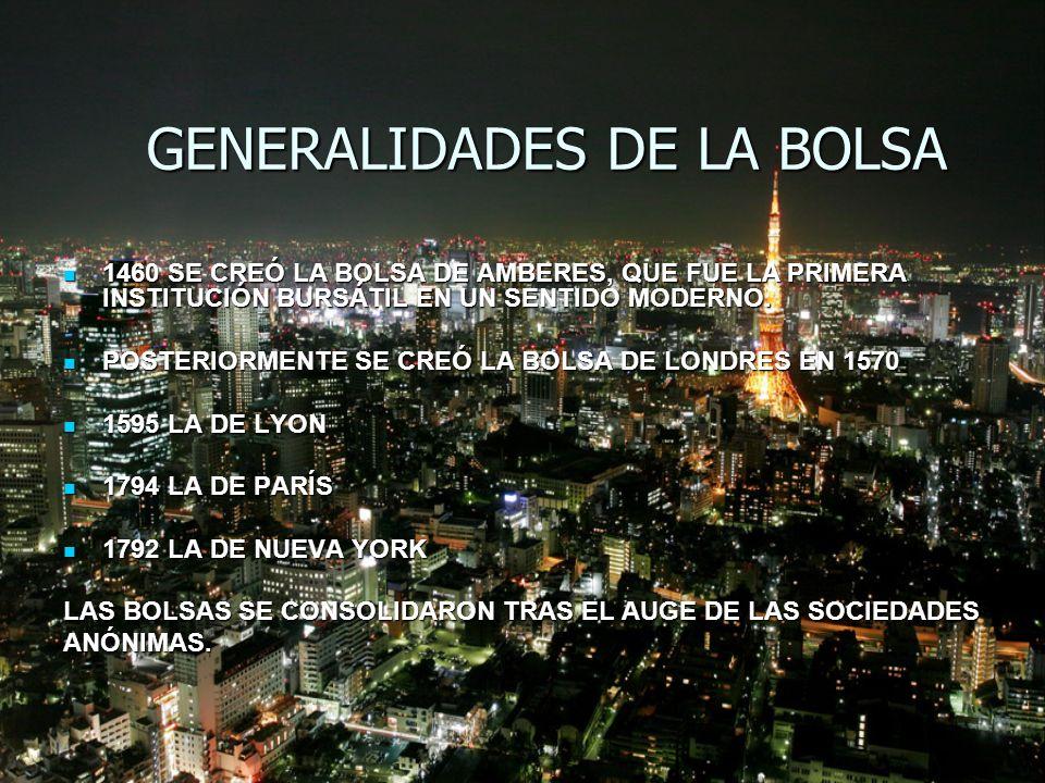 FUNCIONAMIENTO Y OBJETIVOS DE LA BOLSA LA BOLSA ES UNA DE LAS INSTITUCIONES DEL SISTEMA FINANCIERO Y CONSISTE EN UN MERCADO ORGANIZADO EN EL QUE SE REÚNEN PROFESIONALES DE FORMA PERIÓDICA PARA REALIZAR COMPRAS Y VENTAS DE VALORES PÚBLICOS O PRIVADOS.