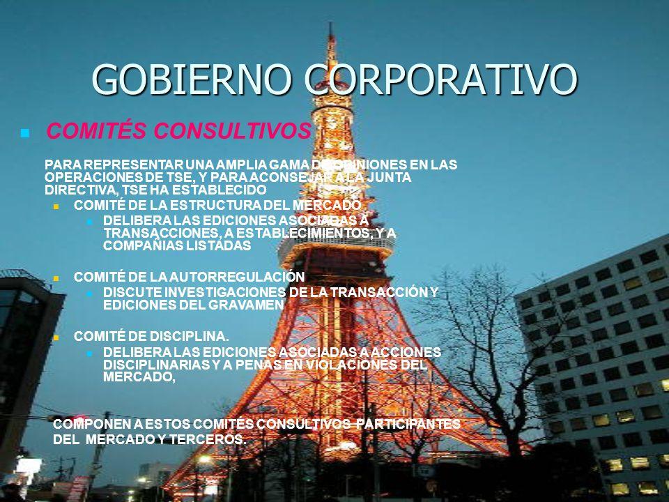 GOBIERNO CORPORATIVO COMITÉS CONSULTIVOS PARA REPRESENTAR UNA AMPLIA GAMA DE OPINIONES EN LAS OPERACIONES DE TSE, Y PARA ACONSEJAR A LA JUNTA DIRECTIV