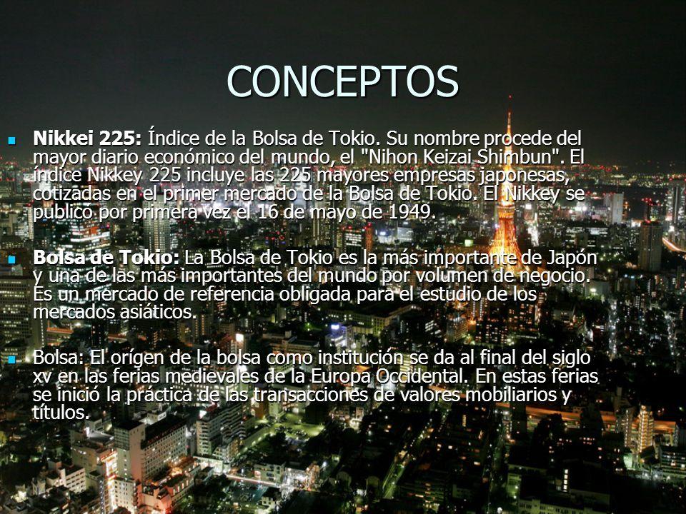 CONCEPTOS Nikkei 225: Índice de la Bolsa de Tokio. Su nombre procede del mayor diario económico del mundo, el