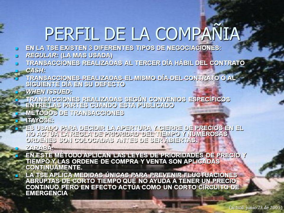 PERFIL DE LA COMPAÑIA (actual. junio 23 de 2005) EN LA TSE EXISTEN 3 DIFERENTES TIPOS DE NEGOCIACIONES: EN LA TSE EXISTEN 3 DIFERENTES TIPOS DE NEGOCI