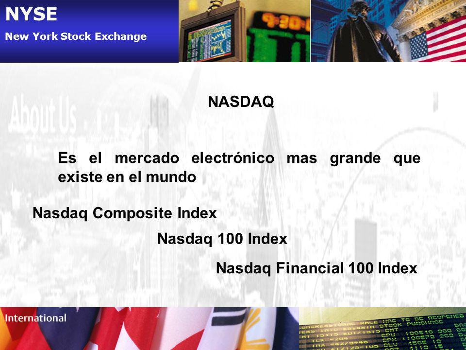 NYSE New York Stock Exchange NASDAQ Es el mercado electrónico mas grande que existe en el mundo Nasdaq Composite Index Nasdaq 100 Index Nasdaq Financi